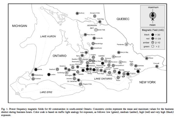 Havas 2002.  EMFs in 60 Ontario Communities