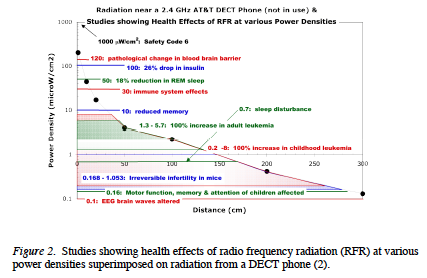 Intensity of radiation generated by a DECT phone